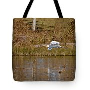 Great Egret Wing Water Reflections Tote Bag