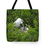 Great Egret With Chicks On The Nest Tote Bag