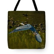Great Heron Over Oyster Beds Tote Bag