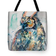 Great Horned Owl In Gold Tote Bag