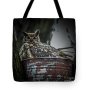 Great Horned Owl On Nest Tote Bag