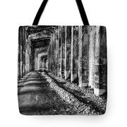 Great Northern Railroad Snow Shed - Black And White Tote Bag