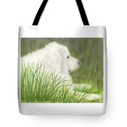 Great Pyrenees Dog In Grass Animal Pets Canine Art Tote Bag