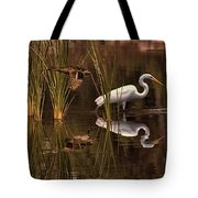 Great White Egret And Mallard Flight Sunrise Reflection Tote Bag