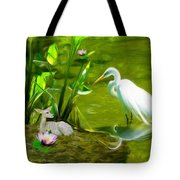 Great White Egret Bird With Deer And Fish In Lake  Tote Bag
