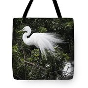 Great White Egret Building A Nest Vii Tote Bag
