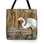 Great White Egret By The River Tote Bag by Sabrina L Ryan