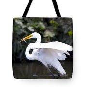 Great White Egret Eating Fish 1 Tote Bag