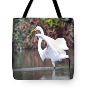 Great White Egret Fishing 1 Tote Bag