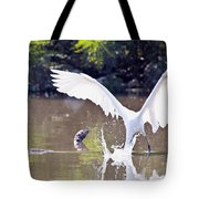 Great White Egret Fishing Sequence 2 Tote Bag