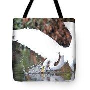 Great White Egret Splash 1 Tote Bag