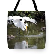 Great White Egret Wingspan And Turtles Tote Bag