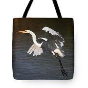 Greater Egret Landing Tote Bag