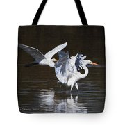 Greater Egrets Meet Up  Tote Bag