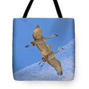 Greater Sandhill Cranes In Flight Tote Bag