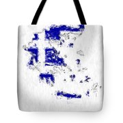 Greece Painted Flag Map Tote Bag