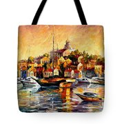 Greek Day - Palette Knife Oil Painting On Canvas By Leonid Afremov Tote Bag