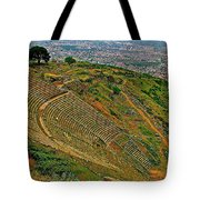 Greek Theatre With Bergama In Background From Pergamum-turkey Tote Bag