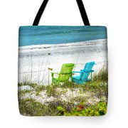 Green And Blue Chairs Tote Bag