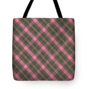 Green And Pink Diagonal Plaid Pattern Textile Background Tote Bag