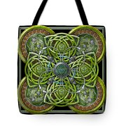 Green And Silver Celtic Cross Tote Bag