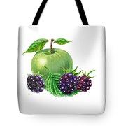 Green Apple With Blackberries Tote Bag