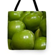 Green Apples On Display At Farmers Market Tote Bag