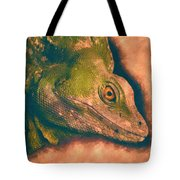 Green Basilisk Lizard Tote Bag