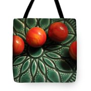 Green Bowl Red Marbles Tote Bag