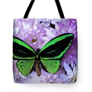 Green Butterfly And Mums Tote Bag