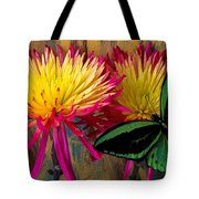 Green Butterfly On Fire Mums Tote Bag