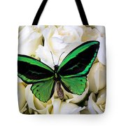 Green Butterfly On White Roses Tote Bag