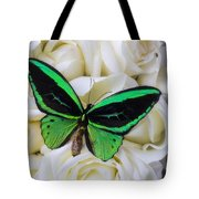 Green Butterfly With White Roses Tote Bag