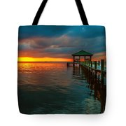 Green Dock And Golden Sky Tote Bag