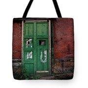 Green Door On Red Brick Wall Tote Bag