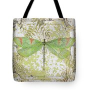 Green Dragonfly On Vintage Tin Tote Bag