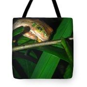 Green Eye'd Frog Tote Bag