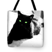 Green Eyed Kitty Tote Bag