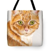 Green Eyed Tabby Cat Tote Bag