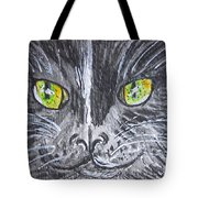 Green Eyes Black Cat Tote Bag