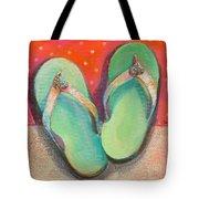 Green Flip Flops Tote Bag