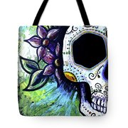 Green Flower Skull Painting By Lovejoy Creations