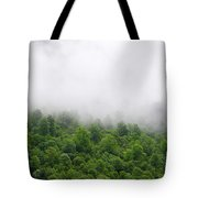 Green Forest With Clouds Tote Bag
