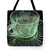 Green Glass Cup And Saucer Tote Bag