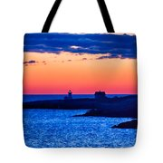 Green Glow Against Rosy Red Dawn Tote Bag