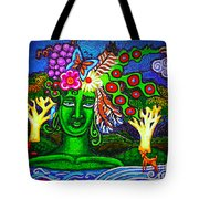 Green Goddess With Waterfall Tote Bag