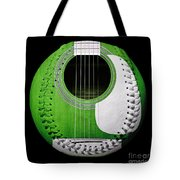 Green Guitar Baseball White Laces Square Tote Bag
