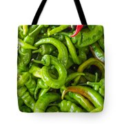 Green Hot Peppers Tote Bag