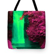Green Irish Waterfall Surrounded By Pink Tote Bag