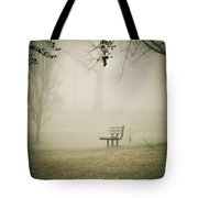 Green Lane On A Foggy Morning Tote Bag